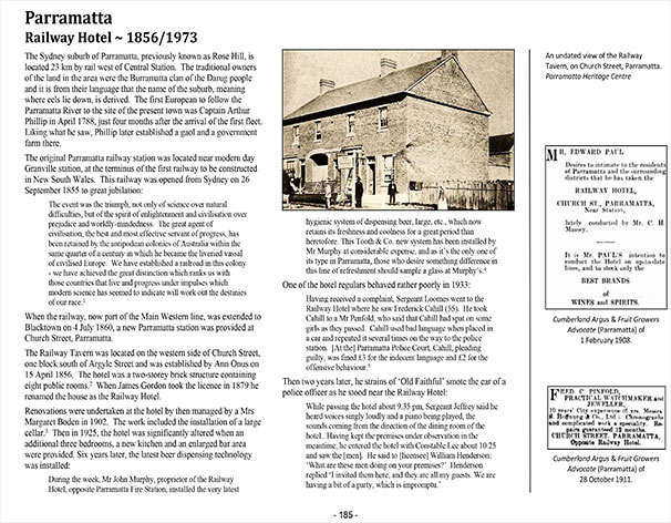 Page 185 of Volume Two ~ New South Wales: Parramatta Railway Hotel ~ 1856/1973