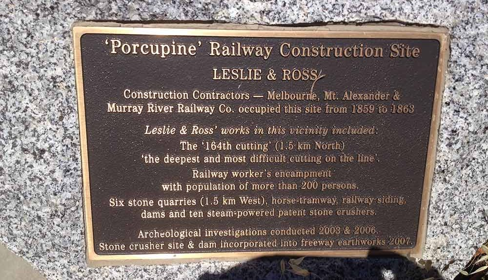 Porcupine Railway construction camp plaque