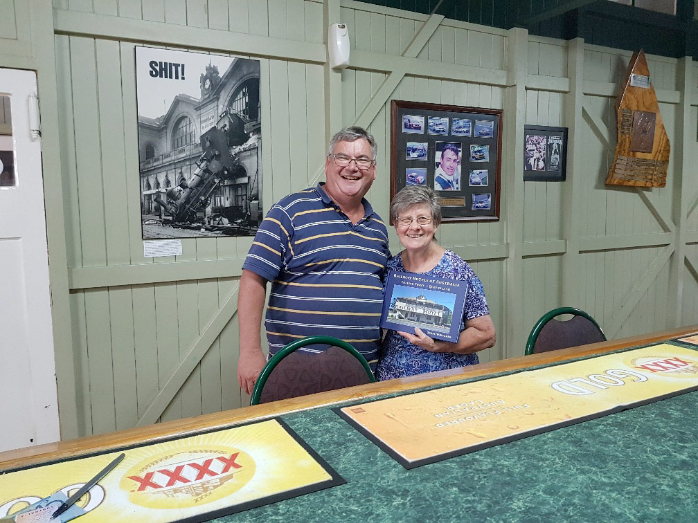 Scott with Pauline McCracken at Barcaldine Railway Hotel