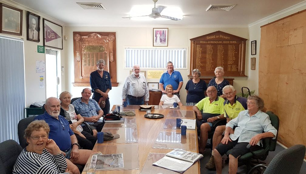 Scott with Mount Perry Locals, including local councillior John Bowen in former council chambers
