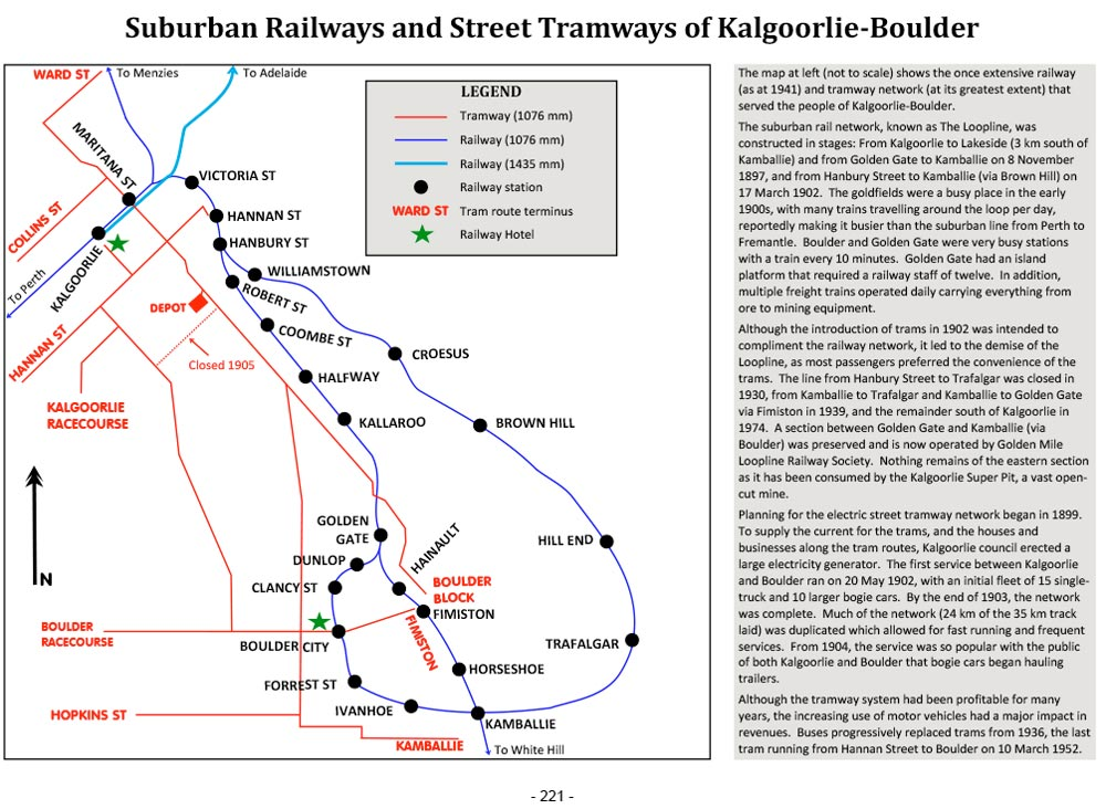 Page 221 of Railway Hotels of Australia Volume Four ~ South Australia, Northern Territory, Tasmania and Western Australia: Suburban Railways and Street Tramways of Kalgoorlie-Boulder
